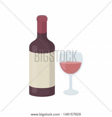Red wine icon in cartoon style isolated on white background. Alcohol symbol vector illustration.
