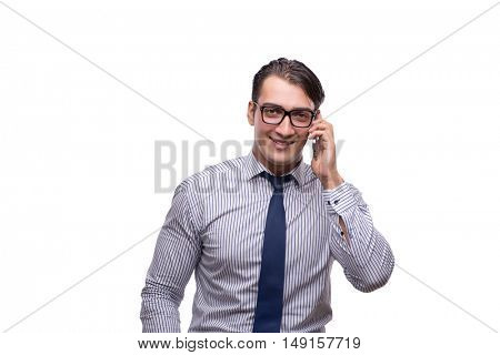Handsome businessman working with mobile phone isolated on white