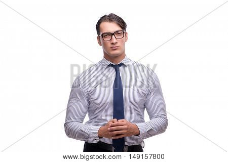 Handsome businessman isolated on the white background