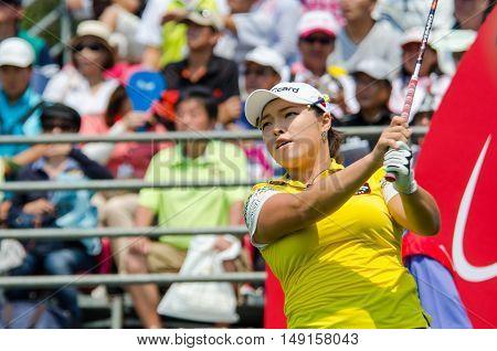 CHONBURI - FEBRUARY 28 : Ha Na Jang of South Korea in Honda LPGA Thailand 2016 at Siam Country Club Pattaya Old Course on February 28 2016 in Chonburi Thailand.