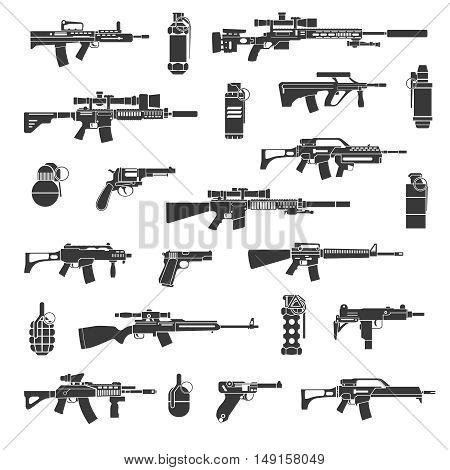 Weapon icons and military or war signs vector. Set of weapon for army, illustration weapons gun and grenade