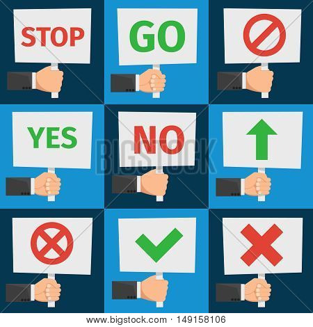 Hands holding protest signs and approval signs in flat style vector. Placard and banner for protest, illustration message protest and demonstration