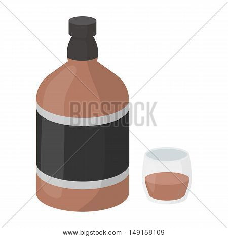 Whiskey icon in cartoon style isolated on white background. Alcohol symbol vector illustration.