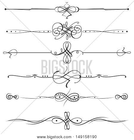 Calligraphic flourishes page dividers. Vector page decoration calligraphic elements