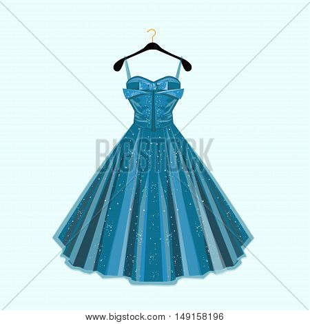 Fashion vector illustration. Blue beautiful party dress.