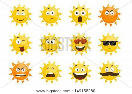 Smiling sun emoticons. Vector cartoon smile sun set. Cartoon face sun illustration