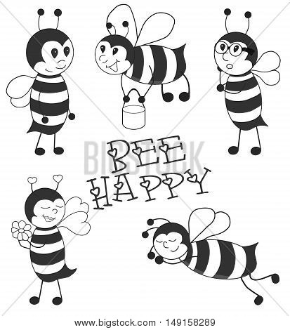 Cartoon Bees black vector illustration set. Made with love