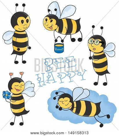 Cartoon Bees vector illustration set. Made with love