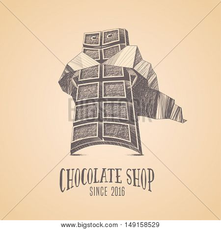 Chocolate shop sweets store vector logo icon symbol emblem. Cute hand drawn graphic design element illustration with chocolate as superhero for menu sweet shop decoration confectionery tshirt