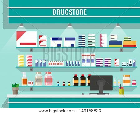 Modern interior pharmacy or drugstore. Medicine pills capsules bottles vitamins and tablets. vector illustration in flat style