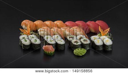 Fresh Sushi set. Nigiri and Hosomaki sushi rolls