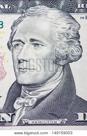 Alexander Hamilton on ten dollar note
