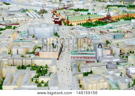 MOSCOW, RUSSIA - DEC 20, 2014: Layout of Tverskaya street at VDNKH exhibition. Tverskaya street one of the major streets of the Tverskoy district of the Central Administrative District of Moscow.
