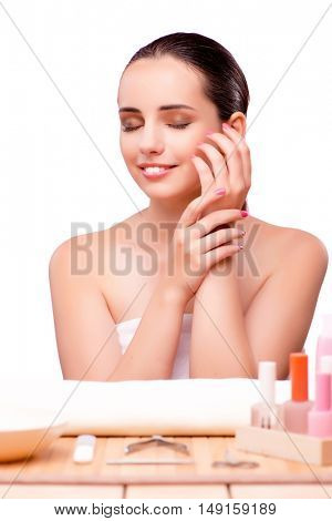 Young beautiful woman in health concept on white background
