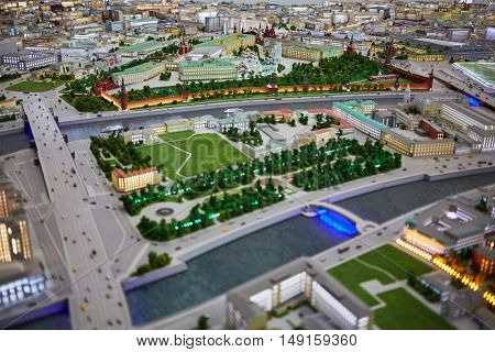 MOSCOW, RUSSIA - DEC 20, 2014: Miniature of Moscow Kremlin and part of Baltschug island on Moskva river at VDNKH exhibition.