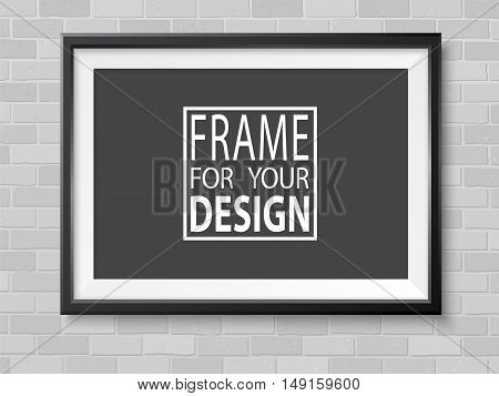 Frame on grey bricks wall. Black photoframe mockup. Modern empty framing for your design. Vector template for picture painting drawing poster or photo.