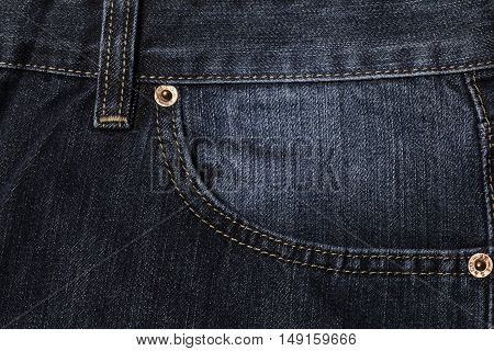 Texture background of blue jeans Pocket detail