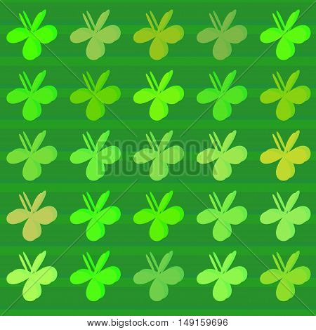 Colored cartoon style clovers background. Vector pattern