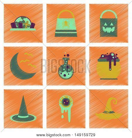 assembly flat shading style icons of halloween bag potion bottle moon bats cauldron zombie eyes bag gravestone witch hat