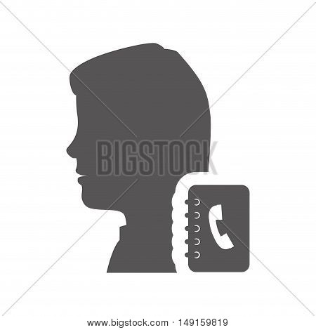 avatar woman person female user with directory notebook icon silhouette. vector illustration