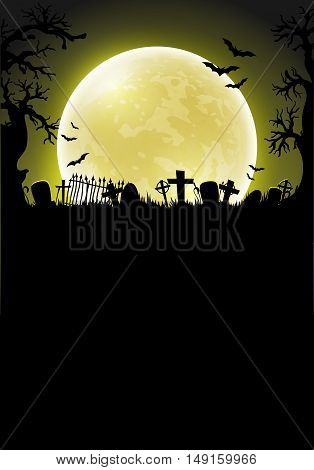 Halloween background with a silhouette of a cemetery against the backdrop of a large moon
