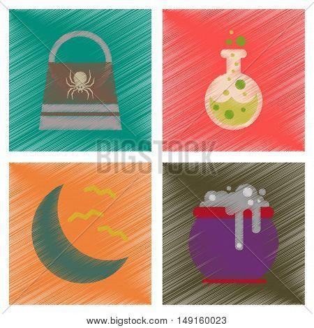 assembly flat shading style icons of halloween bag potion bottle moon bats cauldron