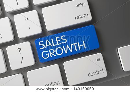 Concept of Sales Growth, with Sales Growth on Blue Enter Button on Slim Aluminum Keyboard. 3D Illustration.
