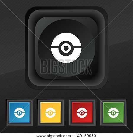Pokeball Icon Symbol. Set Of Five Colorful, Stylish Buttons On Black Texture For Your Design. Vector