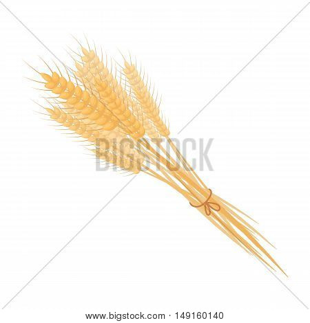 Bundle of wheat icon in cartoon style isolated on white background. Canadian Thanksgiving Day symbol vector illustration.
