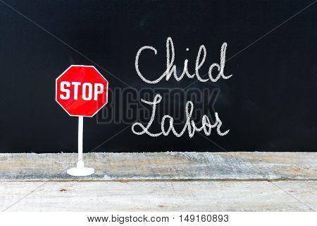 Stop Child Labor Message Written On Chalkboard