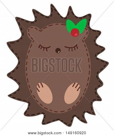 Very Cute cartoon style hedgehog vector illustration