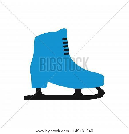 Winter Sports Equipment On White Background. Flat Isolated Skates Icon. Vector Illustration.