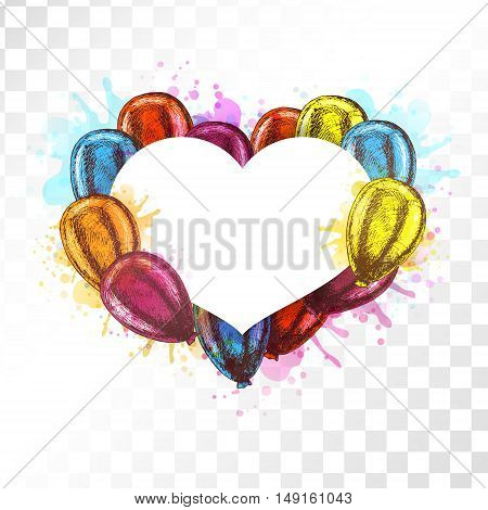 Frame with balloons on transparent background. Vector sketch for greeting cards. Mockup heart shaped isolated. Yellow red orange blue balloons. Doodle design. Retro vintage style. Watercolor spots.