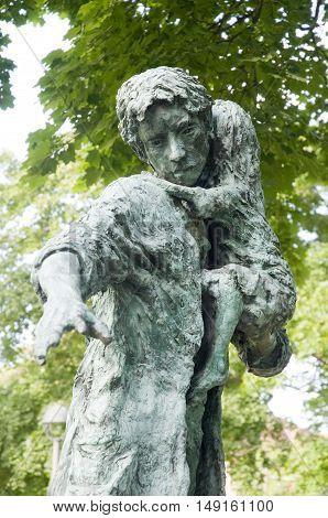 Close up of the Irish Potato Famine memorial in Cambridge, Massachusetts.