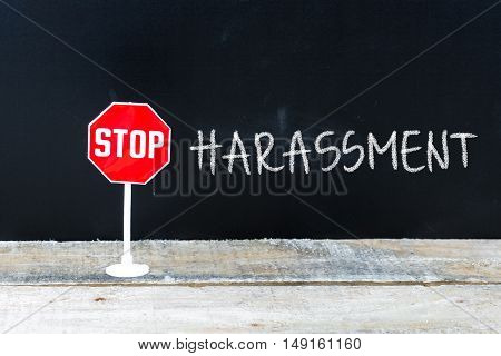 Stop Harassment Message Written On Chalkboard