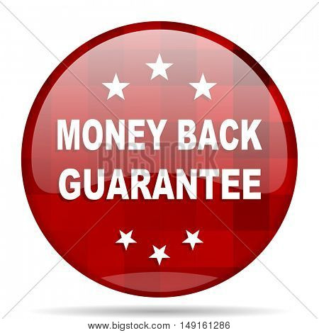 money back guarantee red round glossy modern design web icon