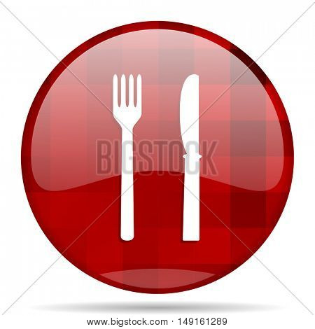 eat red round glossy modern design web icon