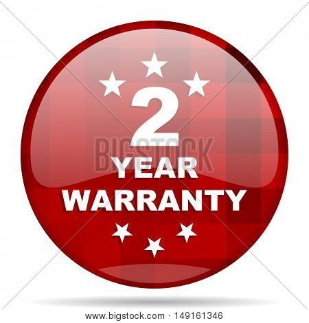 warranty guarantee 2 year red round glossy modern design web icon