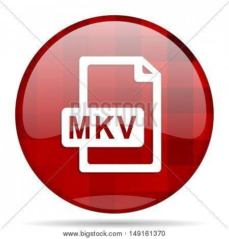 mkv file red round glossy modern design web icon