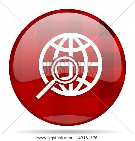 search red round glossy modern design web icon