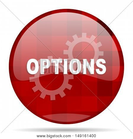 options red round glossy modern design web icon