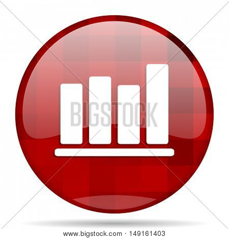 bar chart red round glossy modern design web icon
