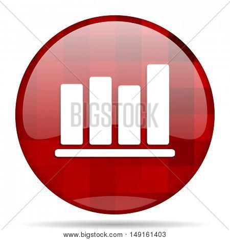 bar chart red round glossy modern design web icon