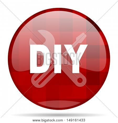 diy red round glossy modern design web icon