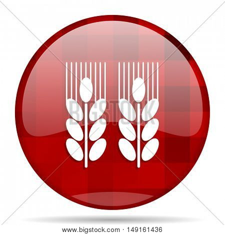 agricultural red round glossy modern design web icon