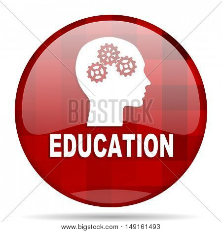 education red round glossy modern design web icon
