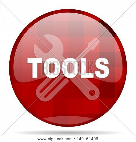 tools red round glossy modern design web icon