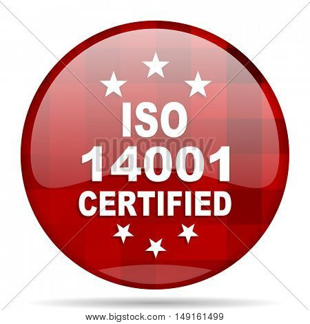 iso 14001 red round glossy modern design web icon