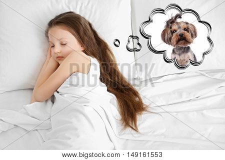 Little girl dreaming about the dog