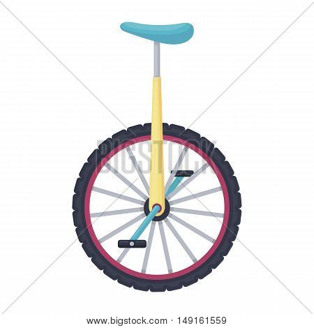 Monocycle icon in cartoon style isolated on white background. Circus symbol vector illustration.